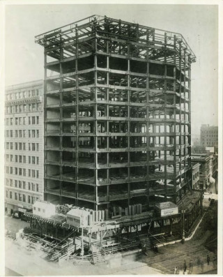 The Hearst Building During Construction
